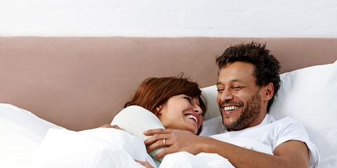 Human, Smile, Comfort, Skin, Happy, Facial expression, Interaction, Love, Linens, Honeymoon,