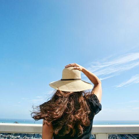 blue, sky, sun hat, hat, beauty, summer, sea, vacation, shoulder, cloud,
