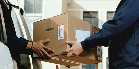 Vehicle door, Job, Material property, Service, Box, Shipping box, Suit trousers, Package delivery, Ladder, Pocket,