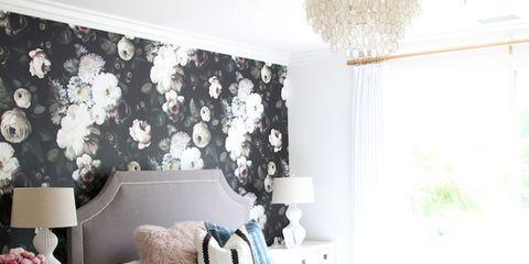 Room, Interior design, Textile, Wall, Furniture, Home, Interior design, Linens, Lamp, Bedding,