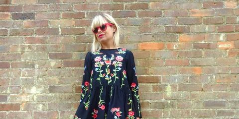 Clothing, Brick, Dress, Red, Brickwork, Pink, Magenta, Style, One-piece garment, Street fashion,