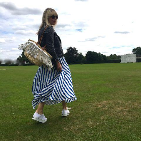 d0e8957dc Dress, £225, LK Bennett; Trainers, £55,Superga; Bag, model's own (see  similar from Next, £34)