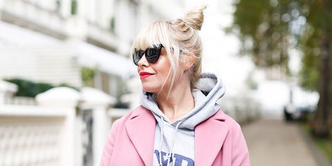 Clothing, Glasses, Sleeve, Sunglasses, Textile, Jacket, Outerwear, White, Pink, Style,