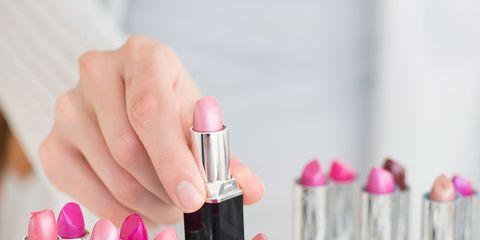 Finger, Liquid, Lipstick, Pink, Magenta, Nail, Nail polish, Peach, Cosmetics, Nail care,