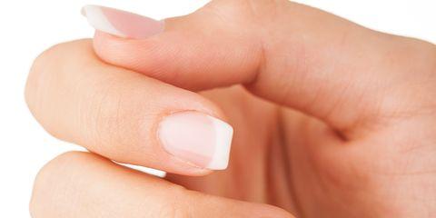 Finger, Skin, Nail, Nail care, Manicure, Nail polish, Thumb, Beige, Close-up, Gloss,