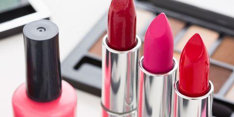 Lipstick, Red, Pink, Magenta, Carmine, Stationery, Cosmetics, Peach, Gloss, Material property,