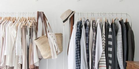 Room, Textile, Clothes hanger, Fashion, Grey, Cabinetry, Collection, Beige, Natural material, Wardrobe,