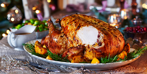 Brined and buttered roast turkey