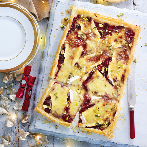 Cranberry and brie puff tart