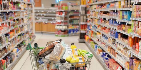 Retail, Supermarket, Convenience store, Grocery store, Shopping cart, Aisle, Cart, Trade, Food storage, Service,