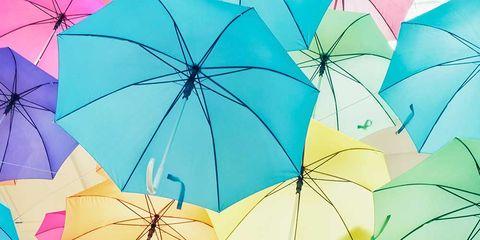 Nature, Blue, Umbrella, Yellow, Colorfulness, Orange, Pink, Line, Amber, Electric blue,