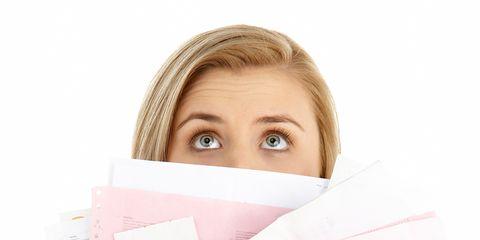 Skin, Eyebrow, Pink, Eyelash, Nail, Paper, Paper product, Brown hair, Blond, Reading,