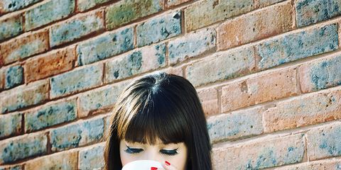 Lip, Brick, Brickwork, Mobile phone, Nail, Bangs, Street fashion, Eyelash, Hime cut, Portable communications device,