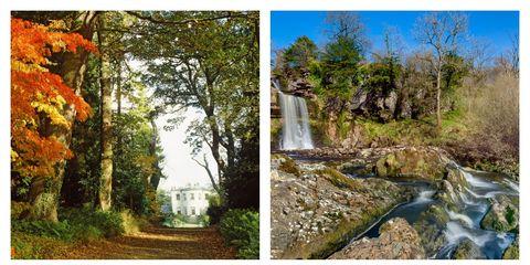 Nature, Natural landscape, Landscape, Landmark, Collage, Watercourse, Reflection, Tourist attraction, Water castle, Deciduous,