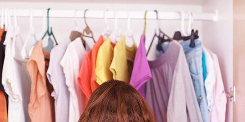 Clothing, Shoulder, Room, Textile, Clothes hanger, Fashion, Back, Linens, Long hair, Fashion design,