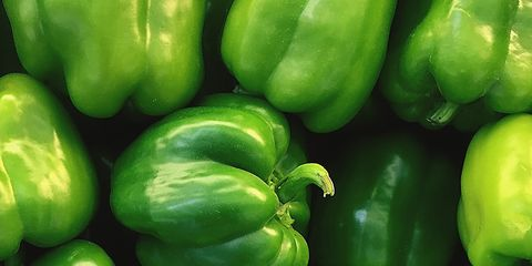 Whole food, Vegan nutrition, Green, Local food, Bell pepper, Yellow, Natural foods, Vegetable, Green bell pepper, Food,