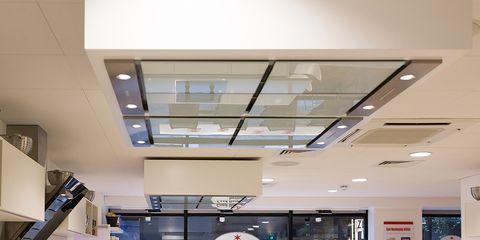 Interior design, Glass, Ceiling, Interior design, Plumbing fixture, Tap, Countertop, Sink, Light fixture, Design,