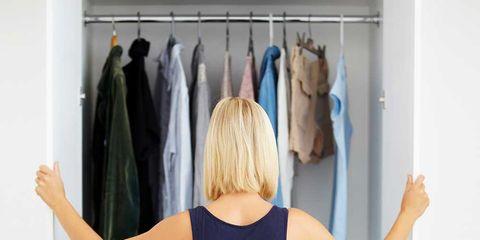 Clothing, Blue, Clothes hanger, Room, Shoulder, Dress, Closet, Furniture, Waist, Textile,