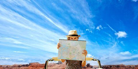 Motor vehicle, Blue, Natural environment, Yellow, Desert, Vehicle, Landscape, Travel, Sky, Car,