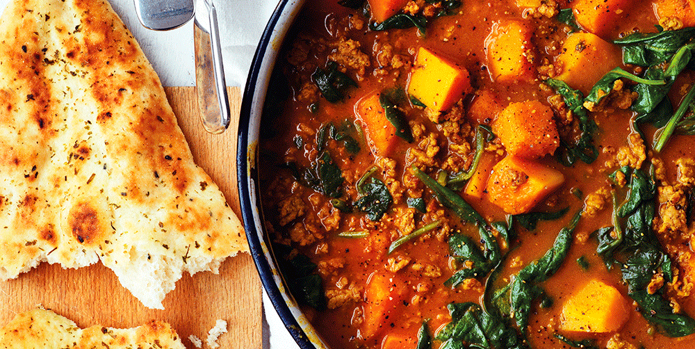 Lamb Curry With Butternut Squash And Spinach