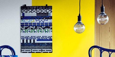 Blue, Yellow, Furniture, Cobalt blue, Chair, Wall, Lighting, Room, Majorelle blue, Interior design,