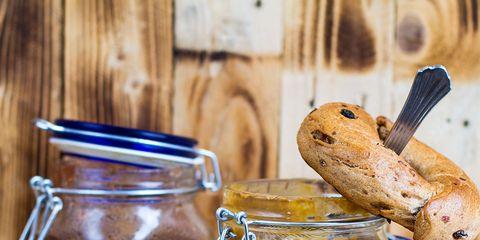 Serveware, Bread, Ingredient, Food, Mason jar, Tableware, Food storage containers, Fruit preserve, Gluten, Preserved food,