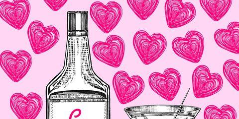 Bottle, Barware, Magenta, Pink, Red, Drinkware, Glass, Stemware, Font, Glass bottle,