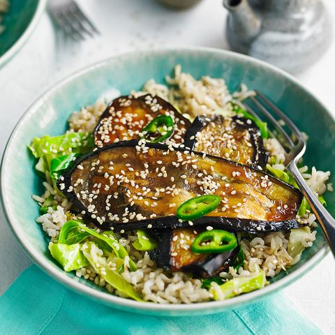 quick miso aubergines with spring green rice