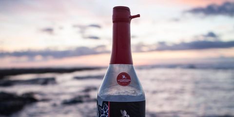 Bottle, Water, Drink, Liqueur, Ocean, Alcohol, Distilled beverage, Glass bottle, Beach, Sea,