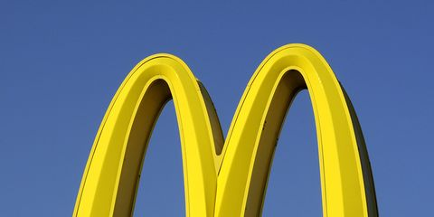 Yellow, Font, Architecture, Arch, Logo, Signage, Brand, Fast food restaurant, Sign,