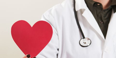 Stethoscope, Heart, Red, Pink, Heart, Love, White coat, Formal wear, Tuxedo, Hand,