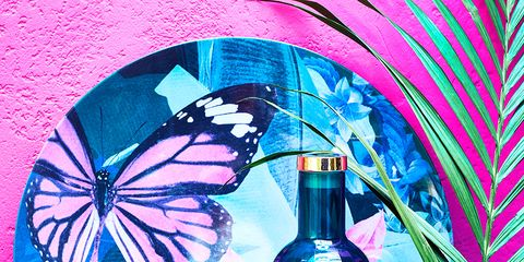 Blue, Bottle, Pink, Turquoise, Water, Design, Still life, Butterfly, Graphic design, Glass bottle,