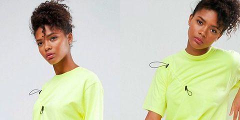 Hairstyle, Sleeve, Green, Shoulder, Style, Collar, Elbow, Black hair, Fashion, Jheri curl,