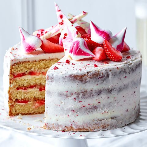 Admirable Strawberry And Prosecco Celebration Cake Funny Birthday Cards Online Overcheapnameinfo
