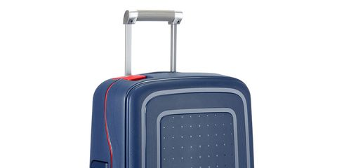 Suitcase, Hand luggage, Bag, Baggage, Luggage and bags, Wheel, Rolling, Travel, Automotive wheel system, Electric blue,
