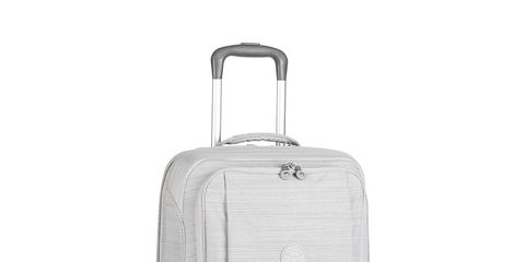 Suitcase, Bag, Hand luggage, Baggage, Luggage and bags, Silver, Wheel, Beige, Rolling,