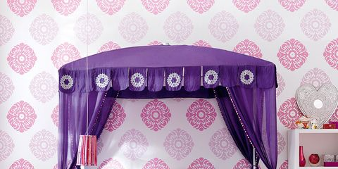 Bedroom, Bed, Furniture, Violet, Purple, Canopy bed, Room, Product, Decoration, Lilac,
