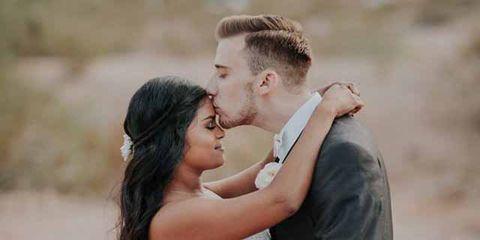 Photograph, Romance, Bride, Wedding dress, Facial expression, Gown, Bridal clothing, Love, Wedding, Dress,
