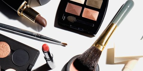 Brown, Cosmetics, Stationery, Tints and shades, Face powder, Brush, Beauty, Eye shadow, Lipstick, Peach,
