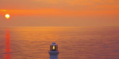 Coastal and oceanic landforms, Tower, Beacon, Horizon, Sun, Sunset, Ocean, Sea, Sunrise, Dusk,