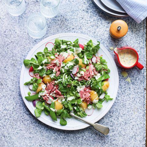 ham hock, jersey royal and broad bean salad