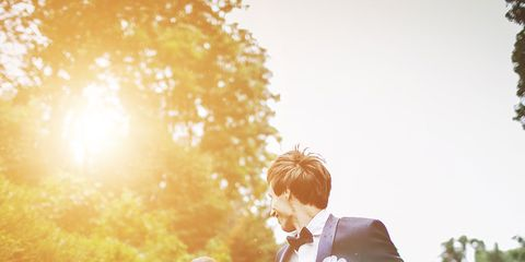 Clothing, Coat, Dress, Trousers, Suit, Photograph, Standing, Outerwear, Happy, People in nature,