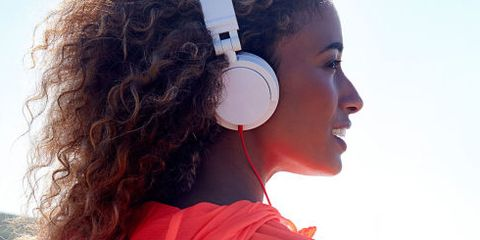 Red, Audio equipment, Headphones, Ear, Hearing, Shoulder, Technology, Neck, Electronic device, Gadget,