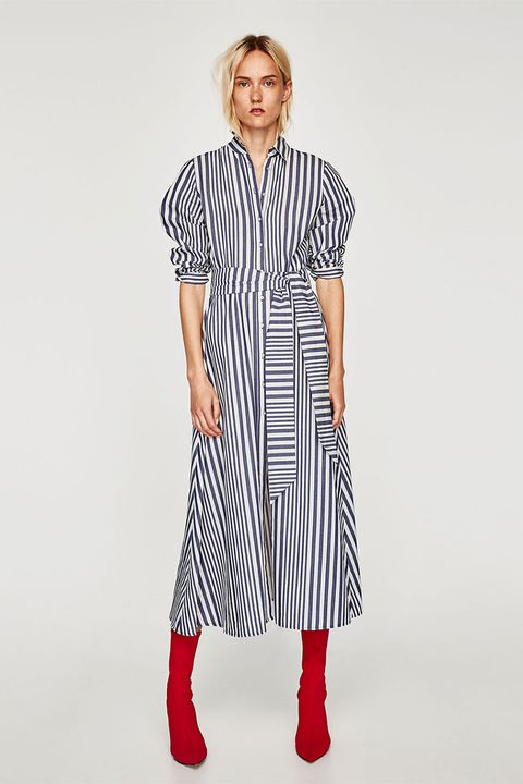e118040f2f58 Zara stripe shirt dress is back in blue - Autumn 2017 transitional ...
