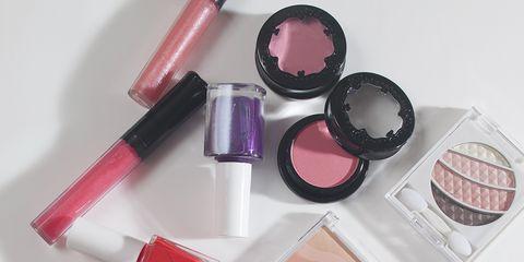 Pink, Cosmetics, Beauty, Eye shadow, Lipstick, Brush, Lip gloss, Makeup brushes, Eye, Material property,