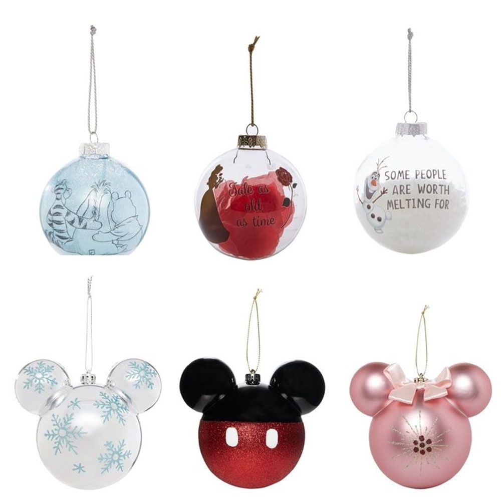 primark has launched disney baubles mickey mouse minnie mouse beauty and the beast and frozen christmas tree decorations