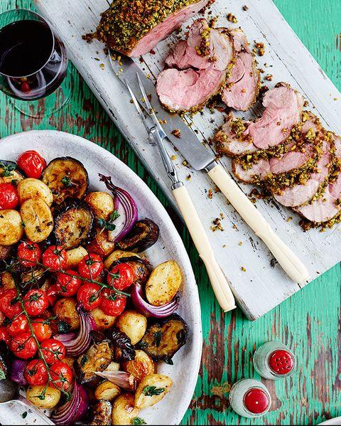 dish, food, cuisine, ingredient, pork loin, pomegranate, produce, meat, staple food, recipe,