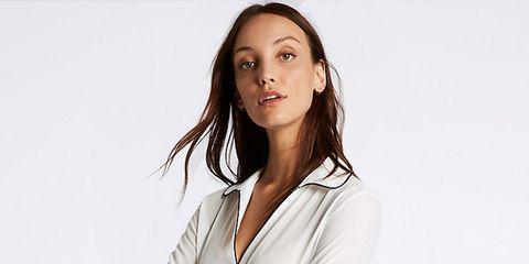 Clothing, White, Blazer, Outerwear, Neck, Formal wear, Sleeve, Jacket, Suit, Fashion,