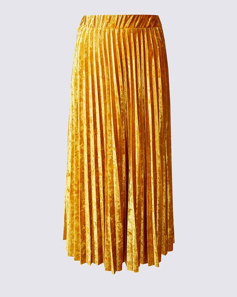 2b24c7544 The Velvet Pleated A-Line Midi Skirt, which costs £35, has a wonderfully  flattering shape, cinching in at the waist and flaring out over the hips,  ...