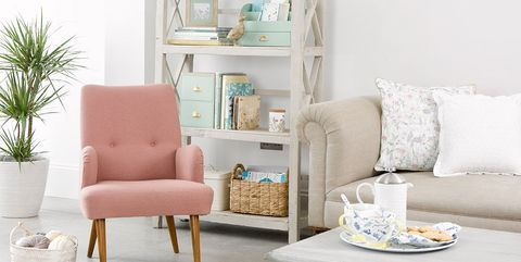 Furniture, Living room, White, Room, Coffee table, Table, Interior design, Turquoise, Shelf, Pink,